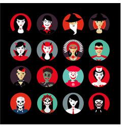 People in halloween avatar set flat style vector