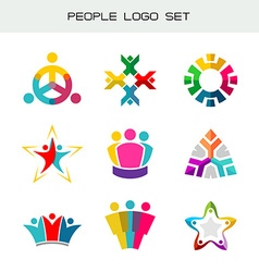 people logo set group two three four or five vector image