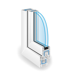 Plastic window frame profile two transparent vector