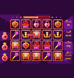 princess girlish interface match3 games and vector image