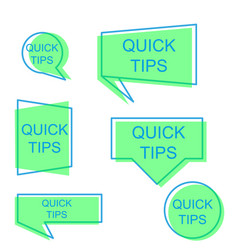 quick tips badge label tag blank design set sign vector image