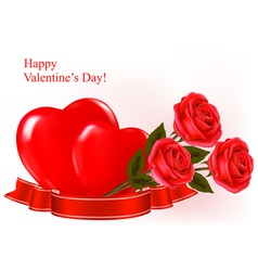 Red roses and two heart vector