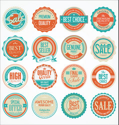 retro vintage design quality badges collection 3 vector image vector image
