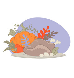 ripe harvested pumpkin and prepared turkey for vector image