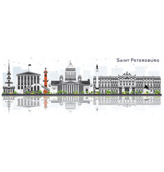 saint petersburg russia skyline with gray vector image
