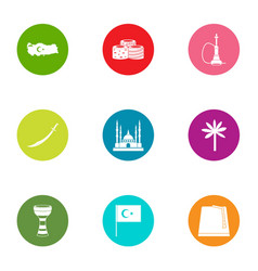 Saudis icons set flat style vector