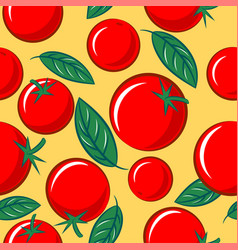 Seamless pattern tomato basil leaves vegetarian vector