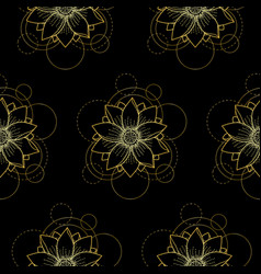 Seamless pattern with gold lotus and circles on vector