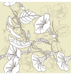 Seamless pattern with pansies and bindweed vector