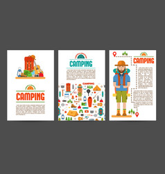 set camping cards vector image