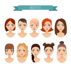 set of cute girls with different hairstyles vector image