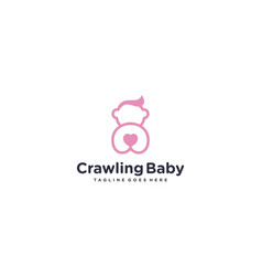 Simple and creative cute baby for logo bacrawl vector