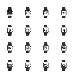 Smart watch icon set vector