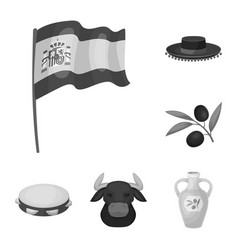 Spain country monochrome icons in set collection vector