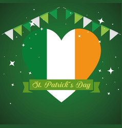 st patrick decoration with heart ireland flag and vector image