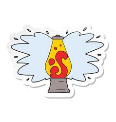 Sticker of a cartoon retro lava lamp vector