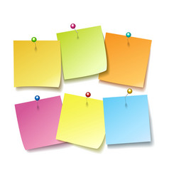sticky notes with pins vector image