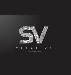Sv s v letter logo with zebra lines texture vector