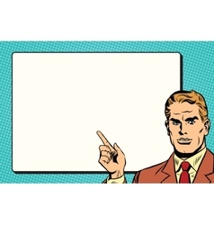 The man points to a white background sheet retro vector