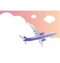 Travel background with airplane and sky with cloud vector