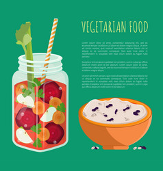 Vegetarian food detox refreshing healthy cocktail vector