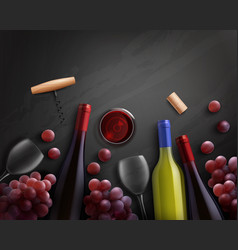 wine realistic composition vector image