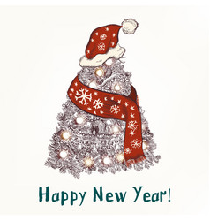 year greeting card hand drawn tree vector image