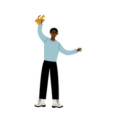 young african american man holding winner cup vector image