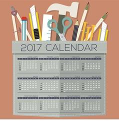 2017 Printable Calendar 12 Months Starts Sunday vector image