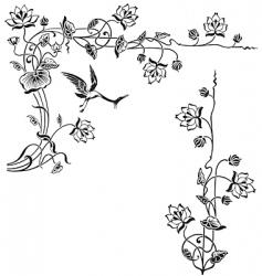 antique floral frame engraving vector image vector image