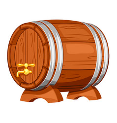 beer wooden barrel on white background vector image vector image
