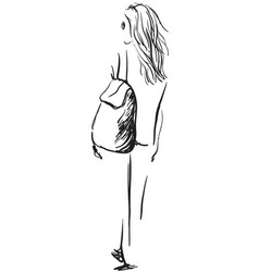 fashion of girl with a backpack vector image vector image