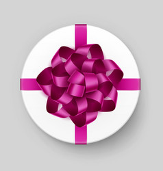 gift box with pink bow and ribbon on background vector image vector image