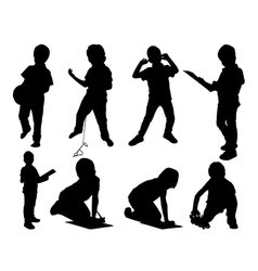 Leisure child set silhouettes vector image