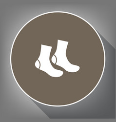 socks sign white icon on brown circle vector image