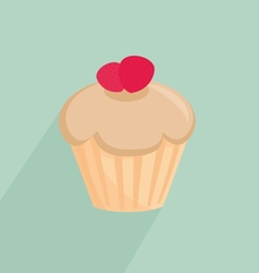 Strawberry cupcake on mint green background vector image vector image