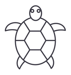 turtle line icon sign on vector image