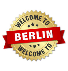 berlin 3d gold badge with red ribbon vector image vector image