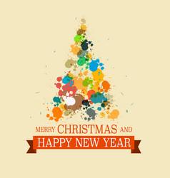 colorful christmas tree grunge xmas card vector image vector image