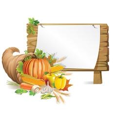 Cornucopia wooden board vector image vector image