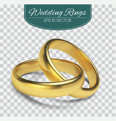 gold wedding rings isolated on trasparent vector image