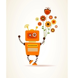 Orange robot with flowers vector