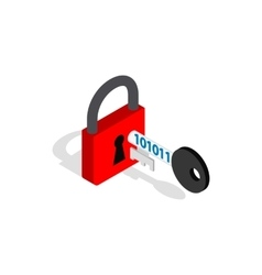 Red padlock and key icon isometric 3d style vector image vector image