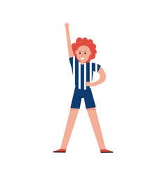 Smiling sports fan girl wearing referee uniform vector