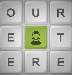 Support button on the keyboard vector image