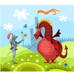 dragon and knight vector image vector image