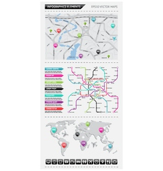 Infographics elements with maps vector