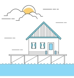 line style of house or home above sea vector image vector image