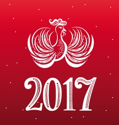 New Year cock lacy design vector image vector image