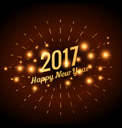 2017 golden text with glowing sparkles vector image
